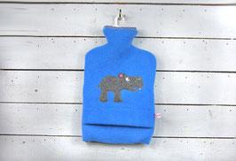 Wärmflasche 2.0l - Hellblau mit Nilpferd