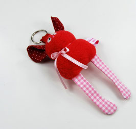 Schlüsselanhänger: Rot mit rosa-weißen Beinen