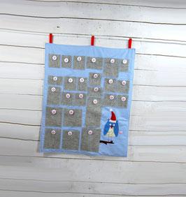 Adventskalender - Hellblau mit Eule