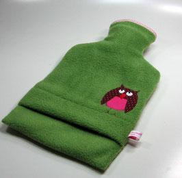 Wärmflasche 2,0 l - grün mit  pinker Eule