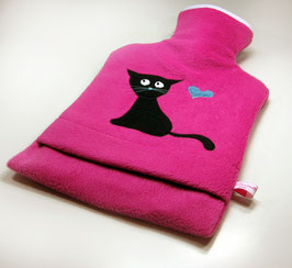 Wärmflasche 2.0 l, pink mit Katze