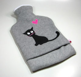 Wärmflasche 2.0l, graumeliert mit schwarzer Katze