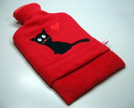 Wärmflasche, rot mit schwarzer Katze