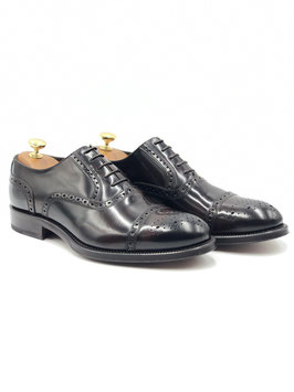 Francesina decorata punta fiore (Oxford Semi - Brogue) T.moro (ws003m)