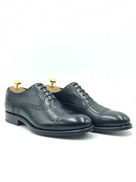 Francesina Punta Semidecorata (Oxford Quarter Brogue) Vitello Nero (ws1002n)
