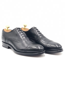 Francesina decorata Punta Fiore (Oxford semi-brogue) Nero (ws1003n)