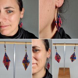 """Boucles d'oreilles """"Diamant Allongé"""" collection coloré"""