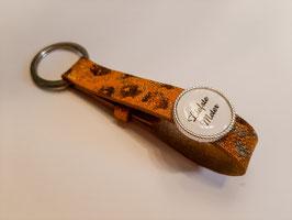 Sleutelhander leder leopard amber brown