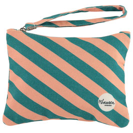 """Clutch """"we are stripes green/pink"""""""