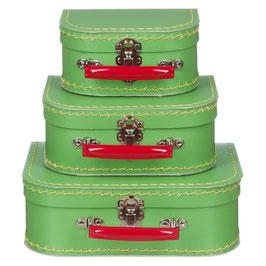 Koffertje lichtgroen met rood handvat