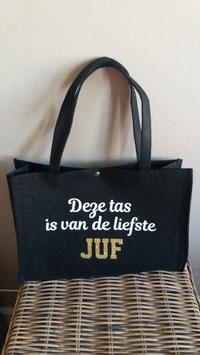 """Vilten tas """"Deze tas is van de liefste JUF"""""""