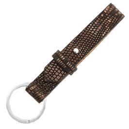 Sleutelhanger leder croco brown/ silver