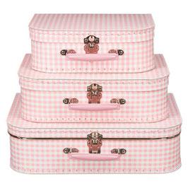 Koffertje geruit roze