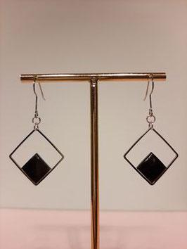 Oorbellen hangers black-silver