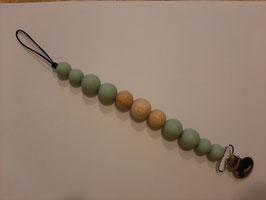 Speenkoord siliconen mint/ hout