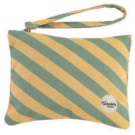 """Clutch """"we are stripes sunny yellow/ minty"""""""