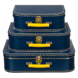 Koffertje donkerblauw / geel  met naam