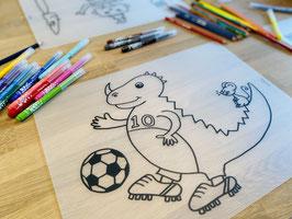 Herkleurbare placemat dino voetbal