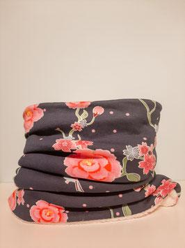 Colsjaal bloemen donkerblauw/ roze