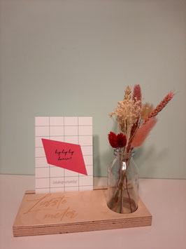 Fotoplank met vaasje droogbloemen