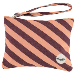 """Clutch """"we are stripes burgundy/pink"""""""