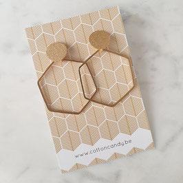 Oorknopjes hexagon goud