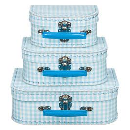 Koffertje geruit blauw