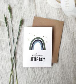 Dubbele kaart met enveloppe en goudfolie: Welcome little boy