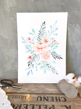 "Aquarelle originale ""Bouquet pastel"""