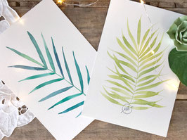 "Aquarelle originale ""Duo tropical"""