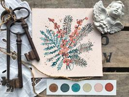 """Aquarelle florale """"Faveur hivernale"""""""