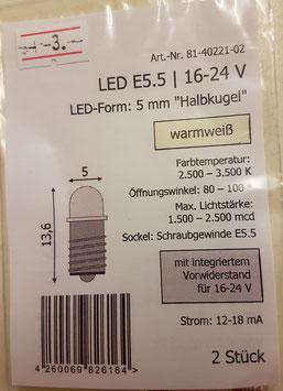 LED E 5,5 16-24V  (1Paar)