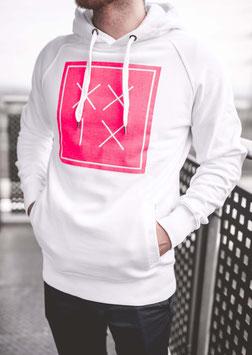 Pullover Hoody Weiß Neon Pink