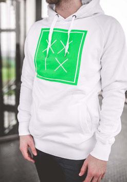 Pullover Hoody Weiß Neon Grün