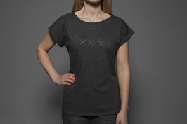 Frauen Rolled Sleeve T-Shirt Charcoal