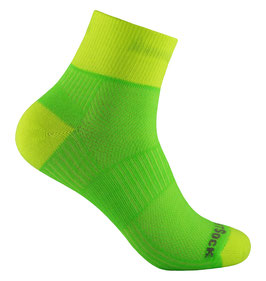 WrightSock Coolmesh II Quarter - Classic - grün/gelb