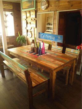 廃材家具 ダイニングテーブル178cm ミックスカラー