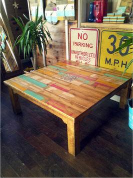 廃材家具 モザイクタイル入り ローテーブル