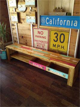 廃材家具 テレビボード2段 178cm 小物入れ付き ミックスカラー