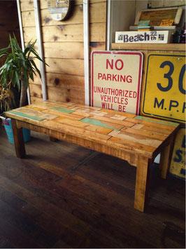 廃材家具 ローテーブル120cxm ターコイズ系