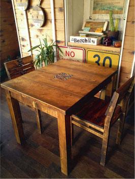 古材風家具 2人掛けダイニングテーブル