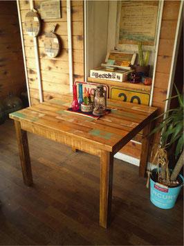廃材家具 ダイニングテーブル100cm ターコイズ系