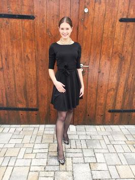 Her Business Lifestyle Kleid mit Hüftgürtel / schwarz, elegant, casual, knielang, 3/4 Arm, Made in Germany