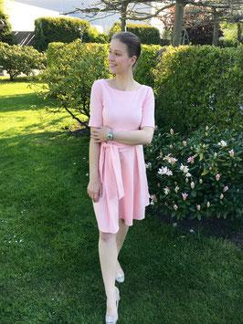 Her Business Lifestyle Kleid mit Hüftgürtel / rosa, rose, elegant, casual, knielang, Kurzarm, Made in Germany