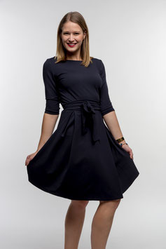 Her Business Lifestyle Kleid mit Hüftgürtel / dunkelblau, elegant, casual, knielang, 3/4 Arm, Made in Germany