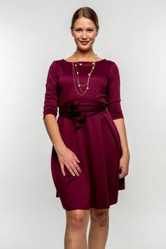 Her Business Lifestyle Kleid mit Hüftgürtel / beere, elegant, casual, knielang, 3/4 Arm, Made in Germany
