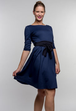 Her Business Lifestyle Kleid mit Hüftgürtel / blau, elegant, casual, knielang, 3/4 Arm, Made in Germany