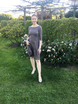 Her Business Lifestyle Kleid mit Hüftgürtel / taupe, elegant, casual, knielang, 3/4 Arm, Made in Germany