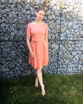 Her Business Lifestyle Kleid mit Hüftgürtel / koralle, elegant, casual, knielang, Kurzarm, Made in Germany