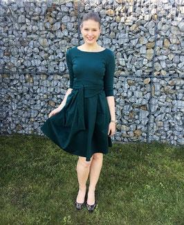 Her Business Lifestyle Kleid mit Hüftgürtel / grün, green, elegant, casual, knielang, 3/4 Arm, Made in Germany
